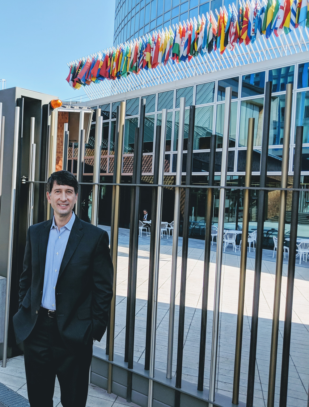 Doug Isenberg outside the offices of the World Intellectual Property Organization in Geneva, October 8, 2018