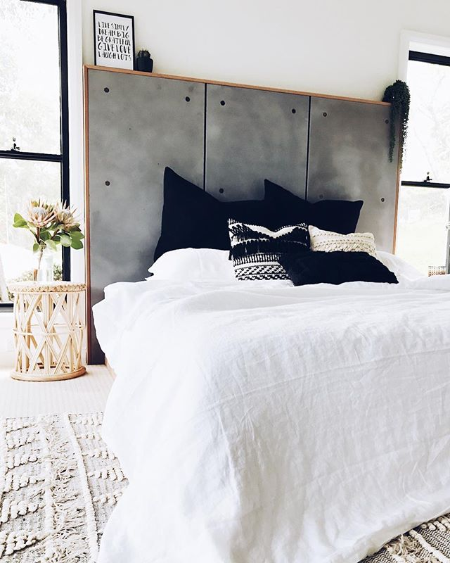 Our custom concrete bedhead looking lush in this boho inspired bedroom 😍😍 🐐colour, Rove . . . #concrete #concretedesign #concretebed #concretebedhead #boho #industrialdesign #bohobedroom #bespoke #handmade