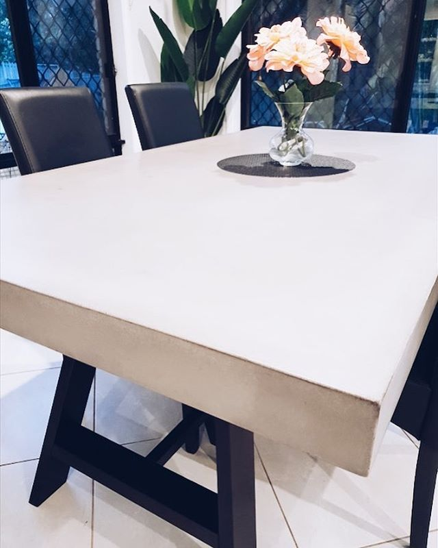 🐐 colour Rove in all her glory. Featured on this 6 seater dining table  #concrete #concretedesign #concretetable #diningtable #concretebenchtop #concretecountertops #industrial #industrialdesign #brisbane #goldcoast