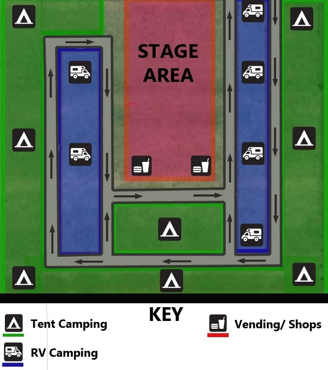 This will be the general layout of your campsite. It is designed to keep a free flow if campers decide they want to leave the campground. All vehicles will be parked within each campsite. This layout allows to people to come and go freely without the hassle of traffic. Portable bathrooms and hand washing stations will be staged on the outskirts of the campsite.