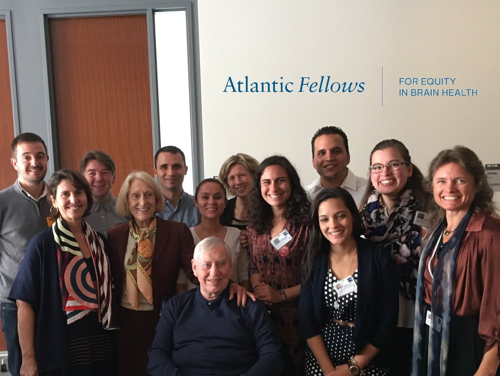 Atlantic Fellows for Equity in Brain Health at GBHI joined by supporters Chuck and Helga Feeney, and their daughter Juliette Timisit