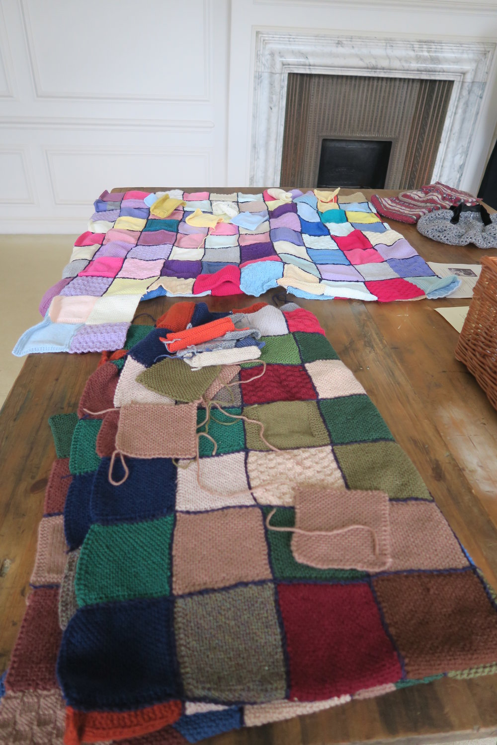"Squares into blankets: better than ""Made in sweatshop"" any day."