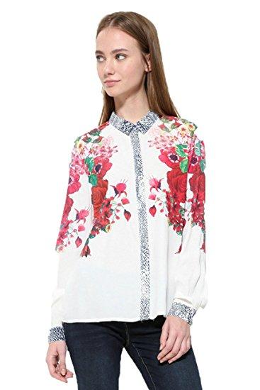 Desigual L/S Shirt White Print Blouse Style # 17WWCW63