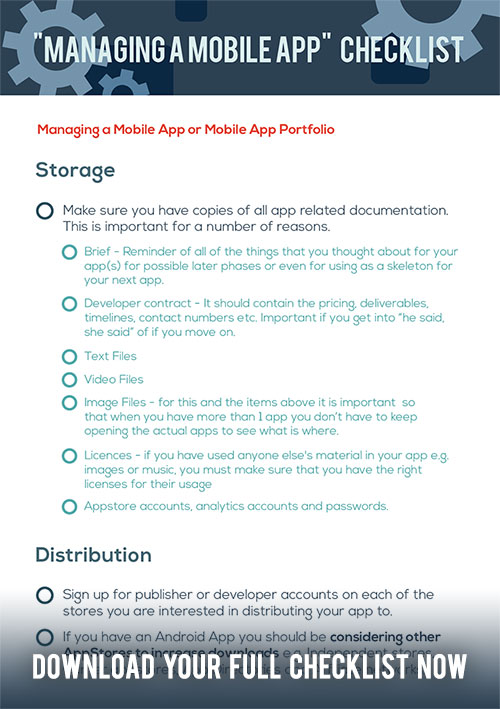"""Managing a mobile app"" checklist   Your step by step guide to what you need to do to manage apps properly."