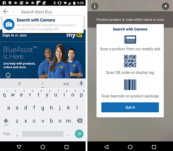 Best Buy app has scanning for search and shopping — Exicon