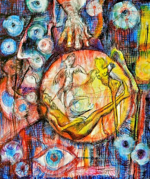 Title: 'Dream of Love-Birds and Eyeballs' 2017 Medium: pigment on canvas Size: 100 x 130cms Location: Bruce Sherratt Studio & Gallery