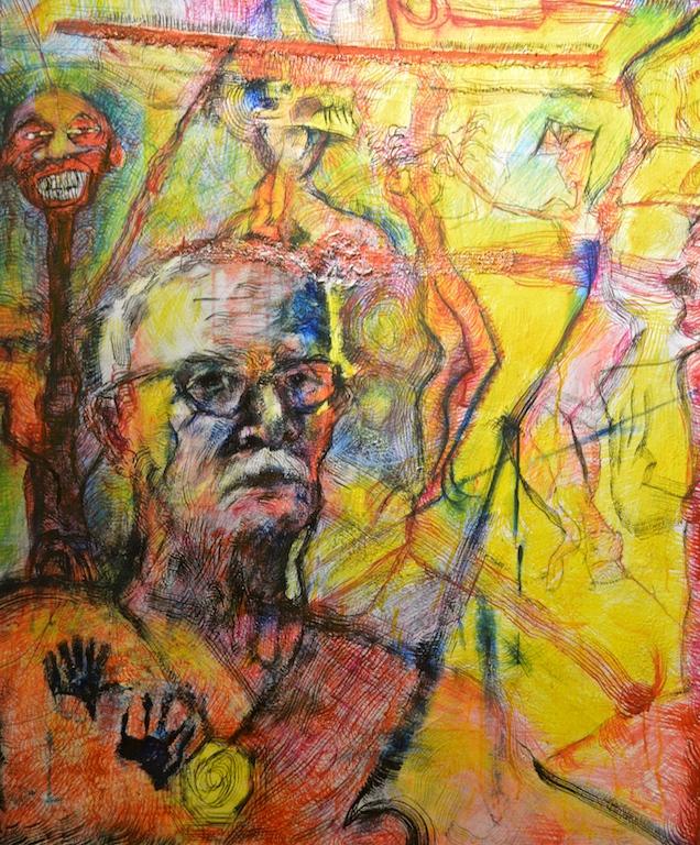 Title: 'Untitled'2017 Medium: pigment on canvas Size: 100 x 120cms Location:Bruce Sherratt Studio & Gallery.