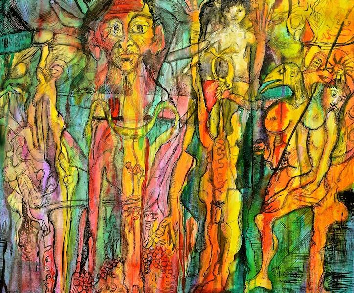Title: 'Family'2017 Medium: pigment on canvas Size: 100 x 120cms Location: Bruce Sherratt Studio & Gallery
