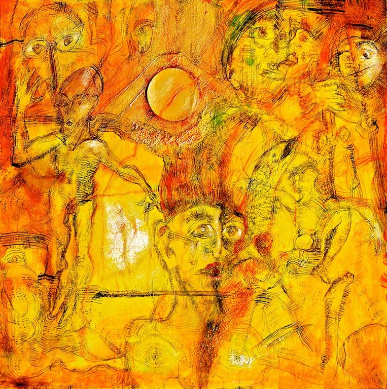 Title: 'A Pleasure that Stings'2017 Medium: pigment on canvas Size: 100 x 100cms Location:Bruce Sherratt Studio & Gallery