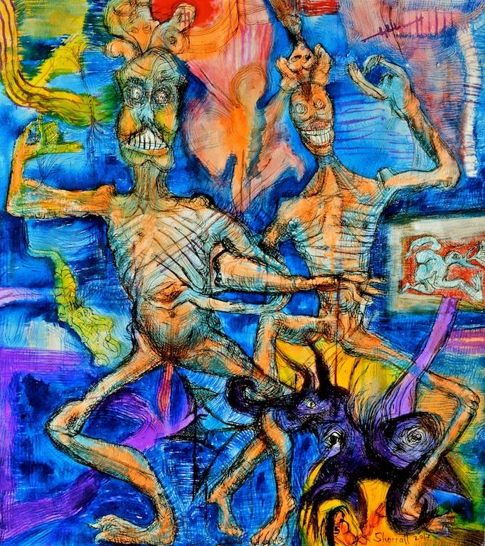 Title: 'Citipati: 'Dance of Death and Awareness'2017 Medium:Medium: pigment on canvas Size:100 x 90cms Location:Bruce Sherratt Studio & Gallery