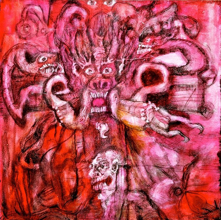 Title: 'Demon of Indifference' 2017 Medium: pigment on canvas Size:100 x 100cms Location:Bruce Sherratt Studio & Gallery