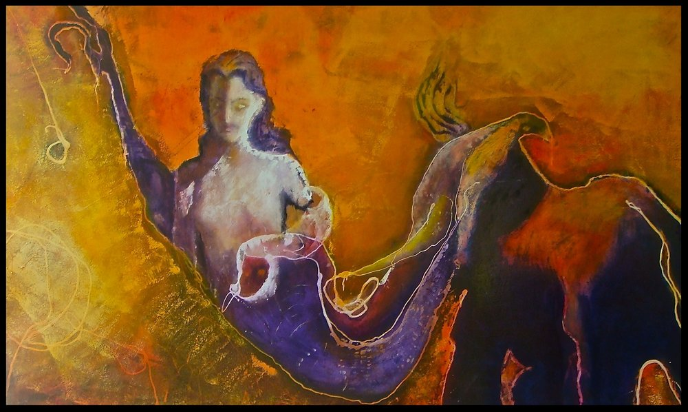 Title: 'The Elephant And The Mermaid' 2010   Medium: Oil paint on canvas Size: 251 x 155 cm   Location: Bruce Sherratt Gallery, Bali
