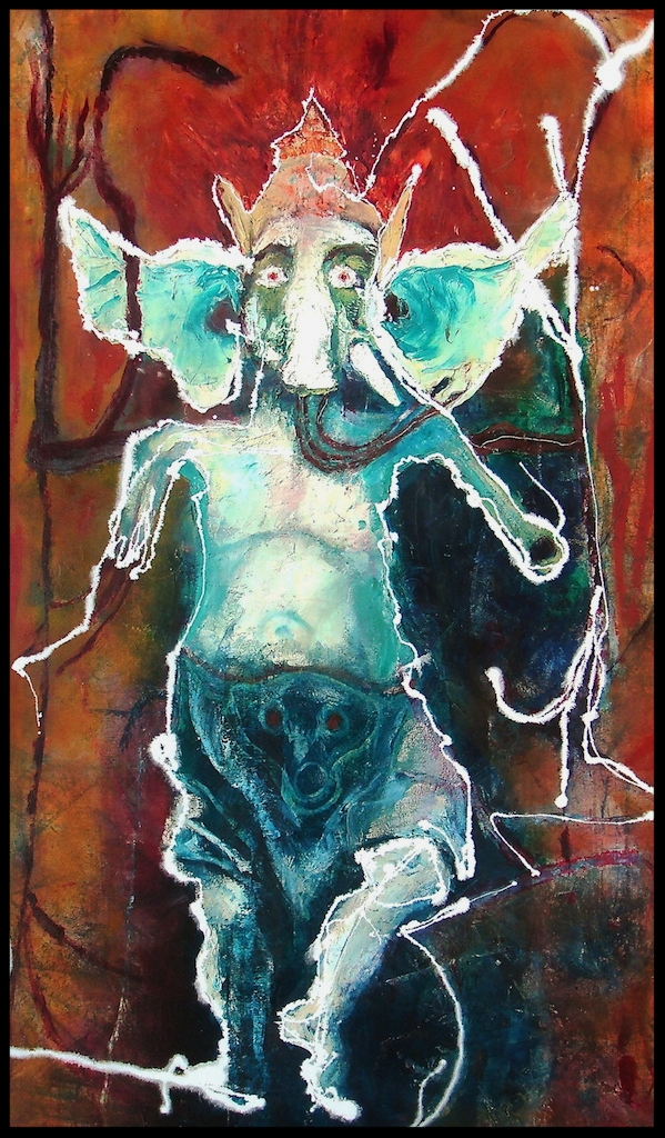 Title: 'Ganesha With Flailing Ears' 2017 Medium: Oil paint on canvas Size: 200 x 120 cm Location: Bruce Sherratt Gallery, Bali