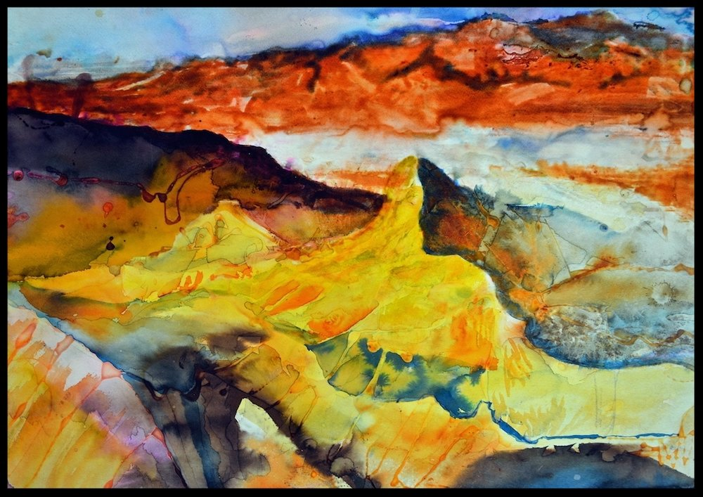 Title: 'Badlands' 2006 Media: colored inks, tissue paper, acrylic glue & gouache on water color paper Size: 76 x 57cms Location: Bruce Sherratt Studio & Gallery