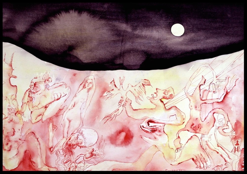 Title: 'Moon Ritual' 2006 Media:: colored inks on water color paper Size: 76 x 58cms Location: Bruce Sherratt Studio & Gallery