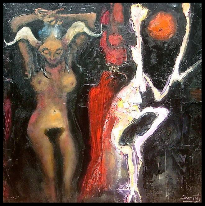'Anima Screaming Through the Mirrors of the Ego', 2008 Medium: Oil on canvas Size: 100 x 100 cm Location: Bruce Sherratt Gallery, Bali