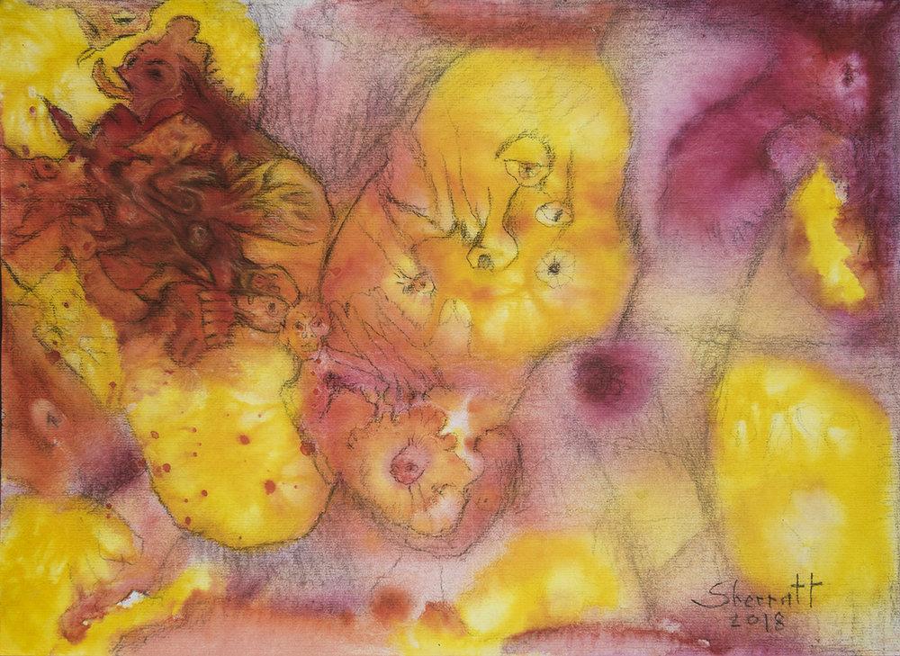 Title: 'Enigmatic Plasma', 2018 Medium: Ink, pigment, and pastels on paper Size: 55 x 40 cm Location: Bruce Sherratt Gallery, Bali