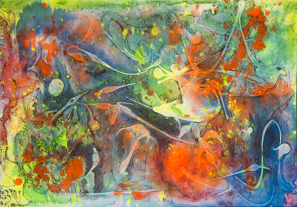 Title: 'Falling Angels', 2018 Medium: Ink, pigment, and pastels on paper Size: 55 x 40 cm Location: Bruce Sherratt Gallery, Bali