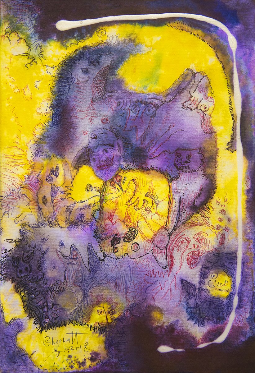 Title: 'Ecstasy in a Broken Space', 2018 Medium: Ink, pigment, and pastels on paper Size: 27 x 40 cm Location: Bruce Sherratt Gallery, Bali