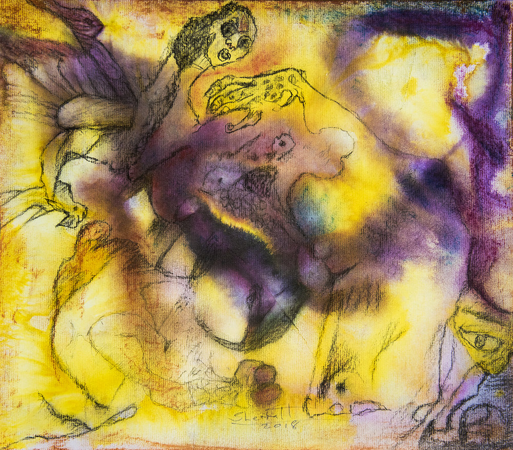 Title: 'A Limited Paradigm', 2018 Medium: Charcoal pencil, pigment, and pastels on paper Size: 35 x 40 cm Location: Bruce Sherratt Gallery, Bali