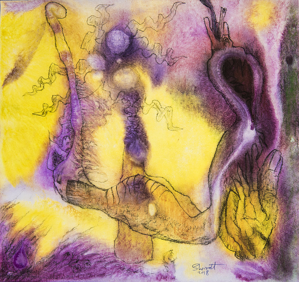 Title: 'Dream and the Tug of Reality', 2018 Medium: Charcoal pencil, pigment, and pastels on paper Size: 35 x 40 cm Location: Bruce Sherratt Gallery, Bali