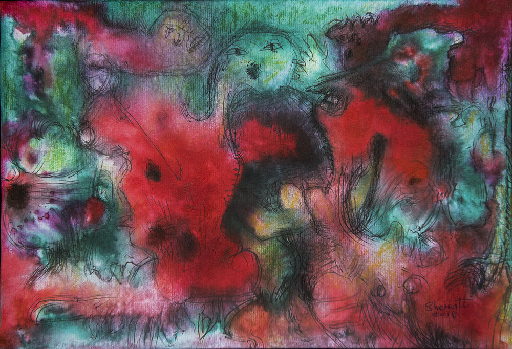 Title: 'Traumatic Anxiety', 2018 Medium: Ink, pigment, and pastels on paper Size: 40 x 27 cm Location: Bruce Sherratt Gallery, Bali