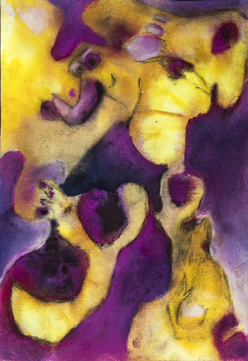 Title: 'Birth of The Relatively Happy Babies', 2018 Medium: Ink, pigment, and pastels on paper Size: 27.5 x 40 cm Location: Bruce Sherratt Gallery, Bali