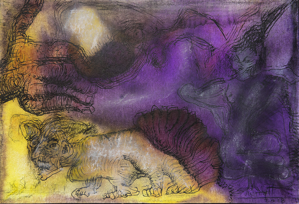 Title: 'Myth of The Father Rival', 2018 Medium: Ink, pigment, and pastels on paper Size: 39.5 x 27 cm Location: Bruce Sherratt Gallery, Bali
