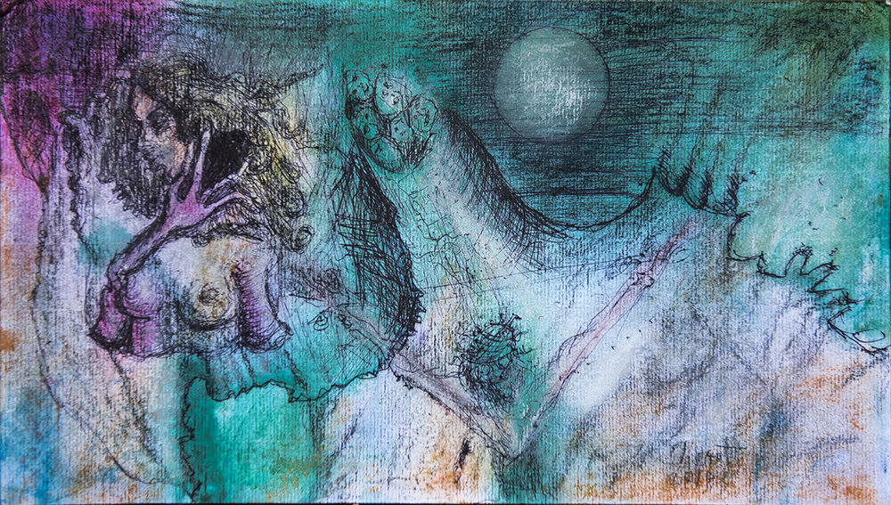 Title: 'Bewildered At First Sight', 2018 Medium: Ink, pigment, and pastels on paper Size: 39.5 x 23 cm Location: Bruce Sherratt Gallery, Bali