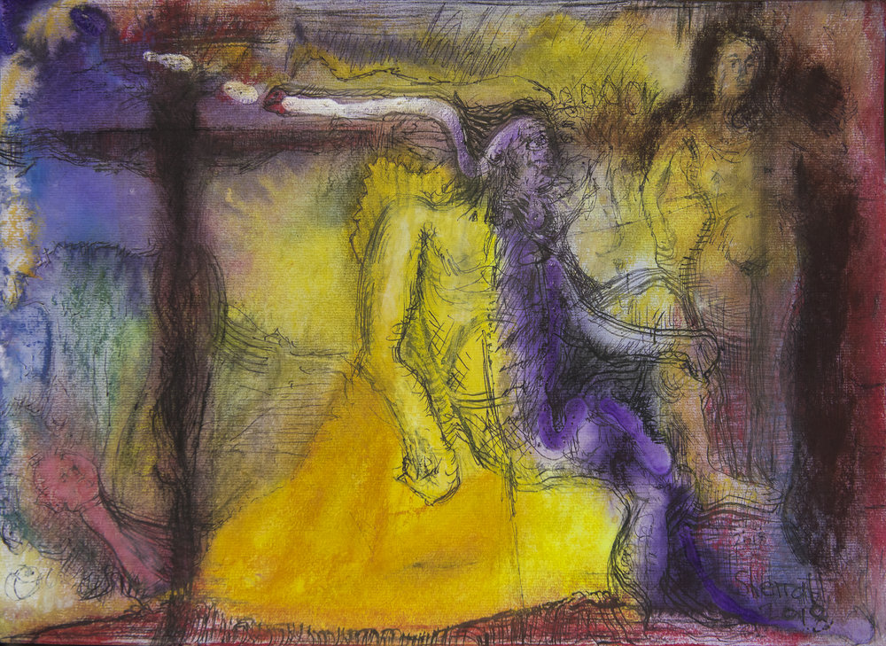 Title: 'Anima and The Prophet - Fool', 2018 Medium: Ink, pigment, and pastels on paper Size: 55.5 x 40 cm Location: Bruce Sherratt Gallery, Bali