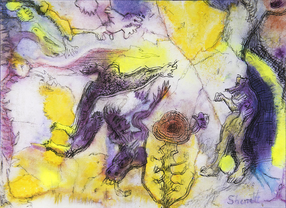Title: 'Disavowed Negation', 2018 Medium: Ink, pigment, and pastels on paper Size: 54 x 39.5 cm Location: Bruce Sherratt Gallery, Bali