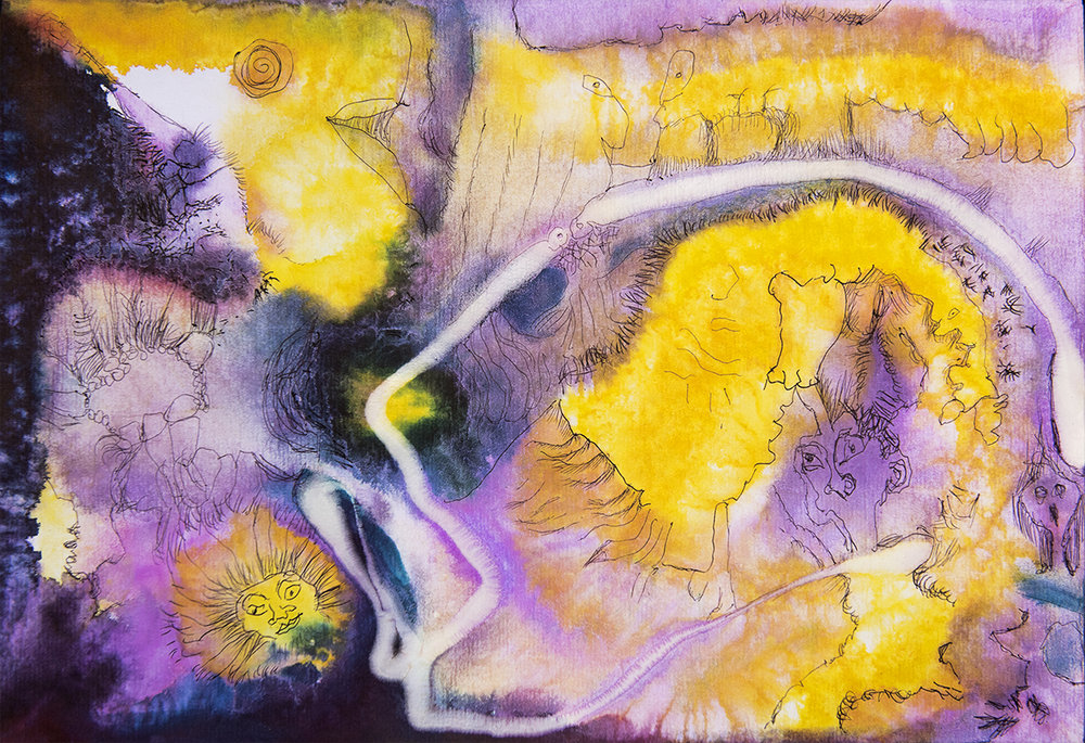 Title: 'Wallowing In Wonders', 2017 Medium: Ink, pigment, and pastels on paper Size: 40 x 27.5 cm Location: Bruce Sherratt Gallery, Bali