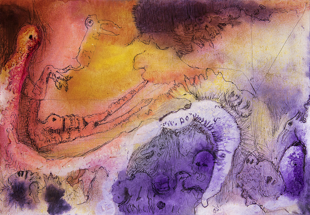 Title: 'Transported Into The Mythic', 2017 Medium: Ink, pigment, and pastels on paper Size: 40 x 27.5 cm Location: Bruce Sherratt Gallery, Bali