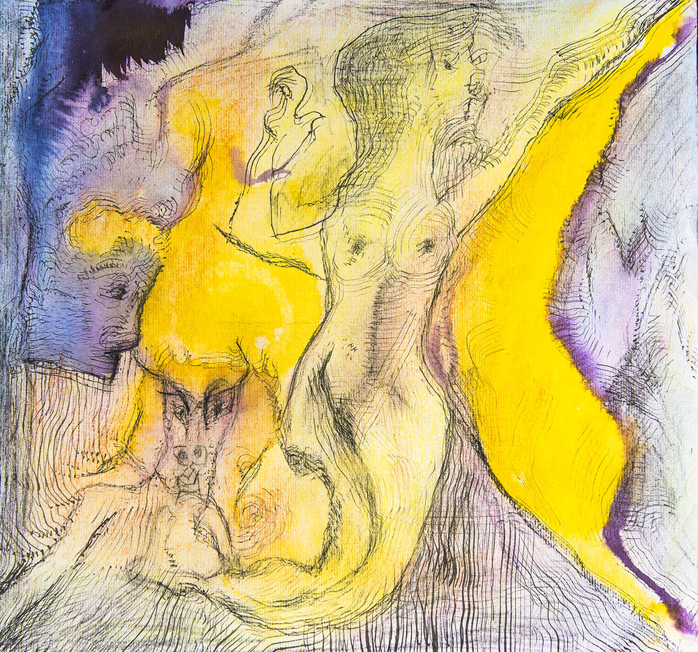 Title: 'Angst and the Sacred Tryst', 2018 Medium: Ink, pigment, and pastels on paper Size: 45 x 41.5 cm Location: Bruce Sherratt Gallery, Bali
