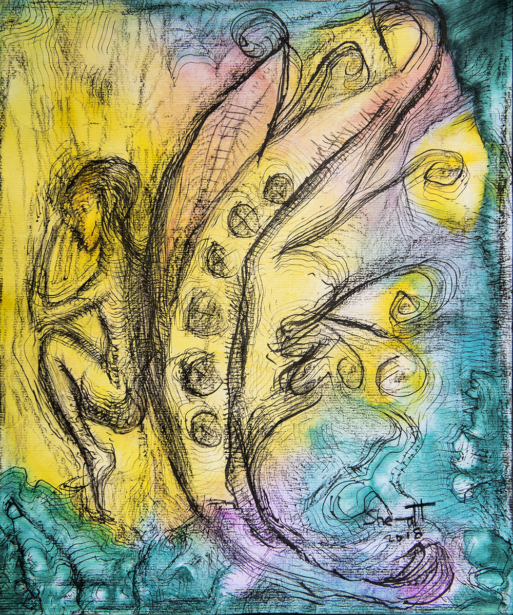 Title: 'Parapraxis', 2018 Medium: Charcoal pencil, ink, pigment, and pastels on paper Size: 32.5 x 39.5 cm Location: Bruce Sherratt Gallery, Bali