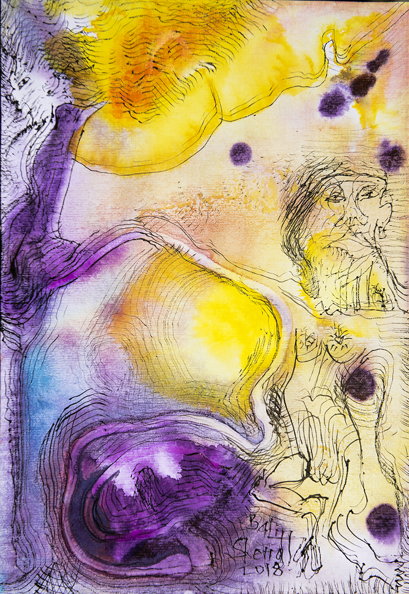 Title: 'The Dance of Life', 2018 Medium: Charcoal pen, ink, pigment, and pastels on paper Size: 27.5 x 39.5 cm Location: Bruce Sherratt Gallery, Bali