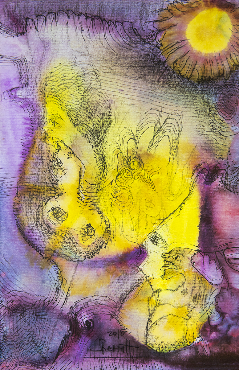 Title: 'Instigated by The Trickster I', 2018 Medium: Charcoal pencil, ink, pigment, and pastels on paper Size: 26 x 40 cm Location: Bruce Sherratt Gallery, Bali