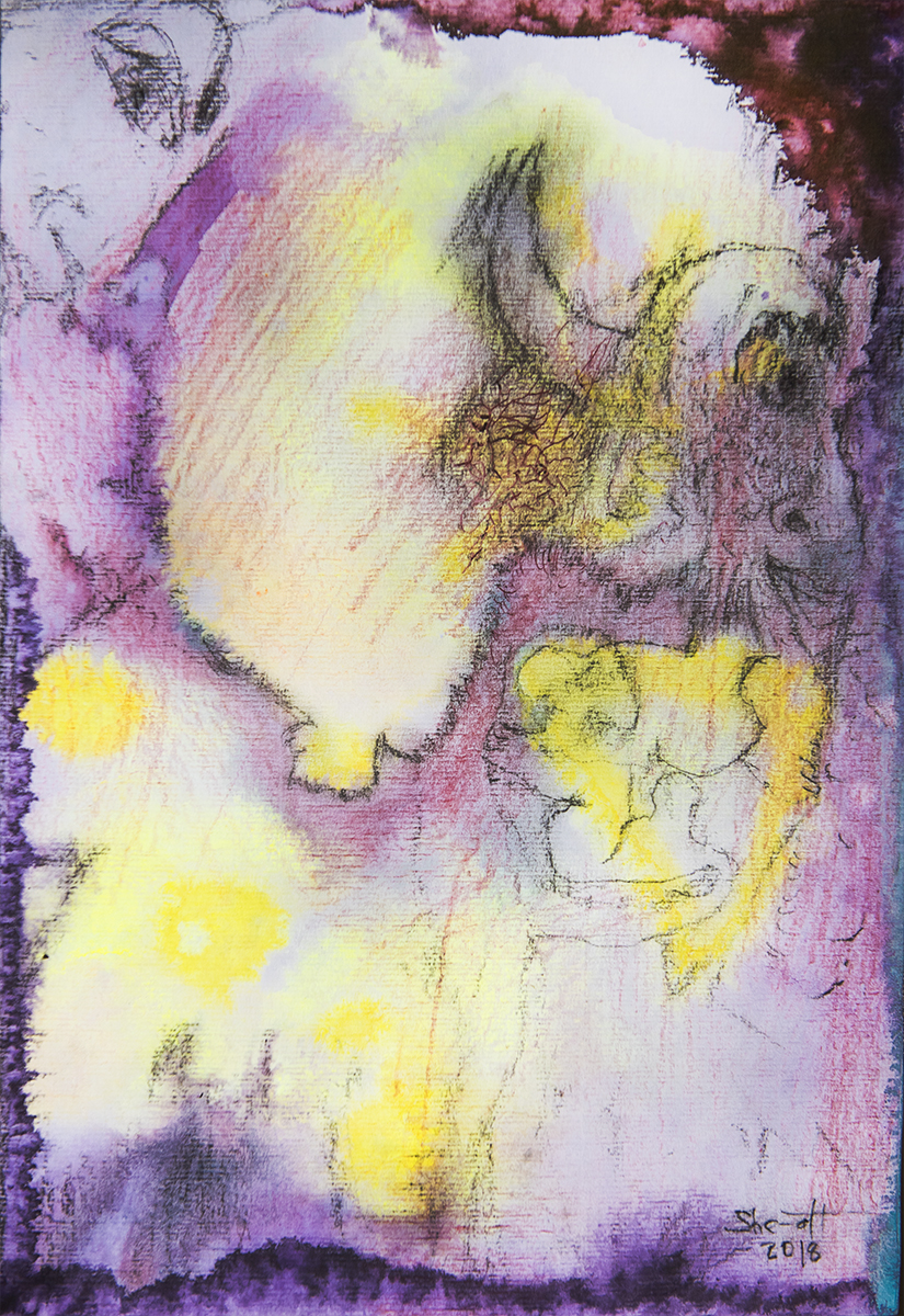 Title: 'Instigated by The Trickster II', 2018 Medium: Charcoal pencil, pigment, and pastels on paper Size: 27.5 x 39.5 cm Location: Bruce Sherratt Gallery, Bali