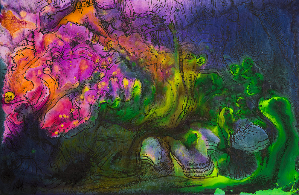 Title: 'Subterranean Spirits', 2018 Medium: Charcoal pencil, pigment, and pastels on paper Size: 39 x 26 cm Location: Bruce Sherratt Gallery, Bali