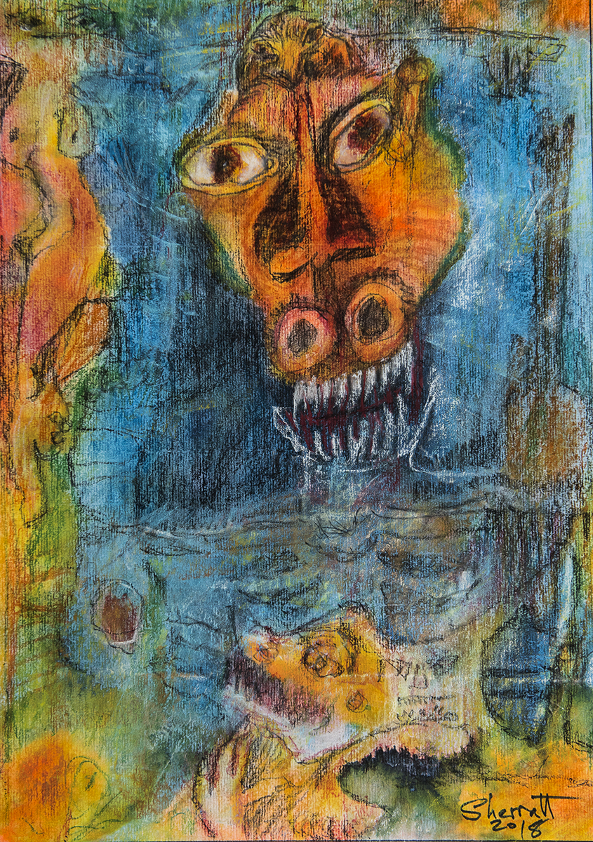 Title: 'Disillusionment and The Gnashing of Teeth', 2018 Medium: Charcoal pencil, pigment, and pastels on paper Size: 34.5 x 39 cm Location: Bruce Sherratt Gallery, Bali