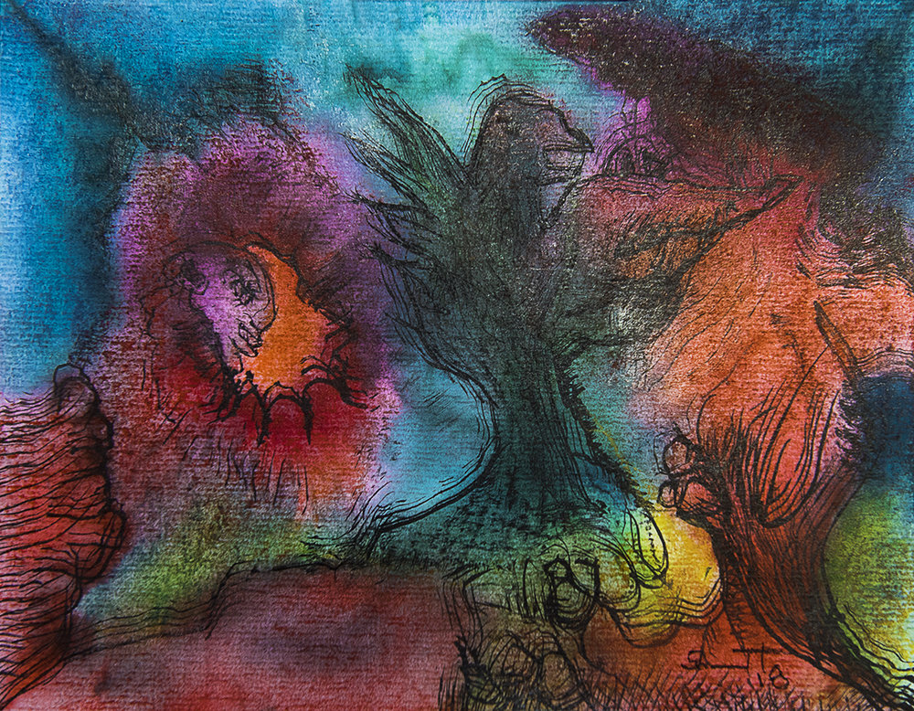 Title: 'Risen From The Ashes', 2017 Medium: Ink, pigment, and pastels on paper Size: 25 x 20 cm Location: Bruce Sherratt Gallery, Bali