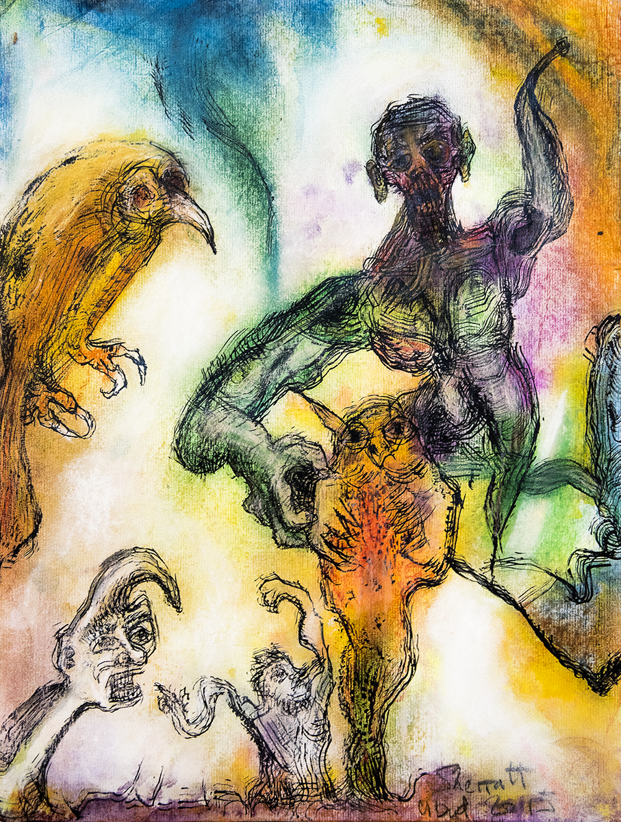 Title: 'They Are Envoys and Interpreters That Ply Between Heaven and Earth', 2018 Medium: Charcoal pencil, ink, pigment, and pastels on paper Size: 39 x 52 cm Location: Bruce Sherratt Gallery, Bali