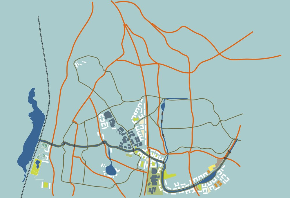 Larger view of how the expanded transport network (including extensive bike lanes and reduced car lanes) would integrate with the new canal system, new dwellings, and refurbished industrial buildings (in blue).