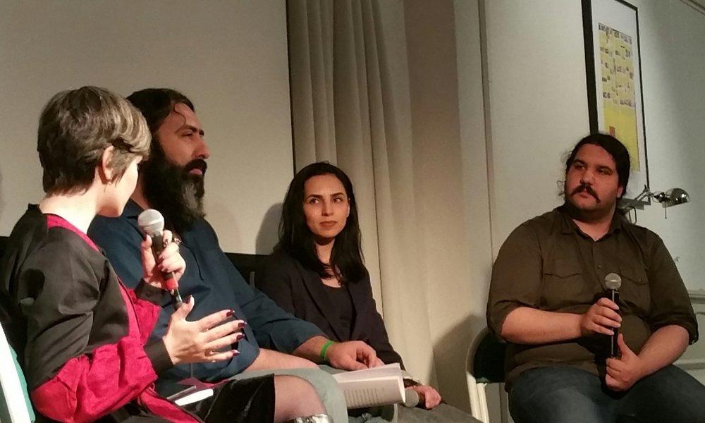 Författaren Samira Motazedi, Fatemeh Ekhtesari och Mehdi Moosavi på Göteborgs litteraturhus  Foto: Kristín Bjarnadóttir