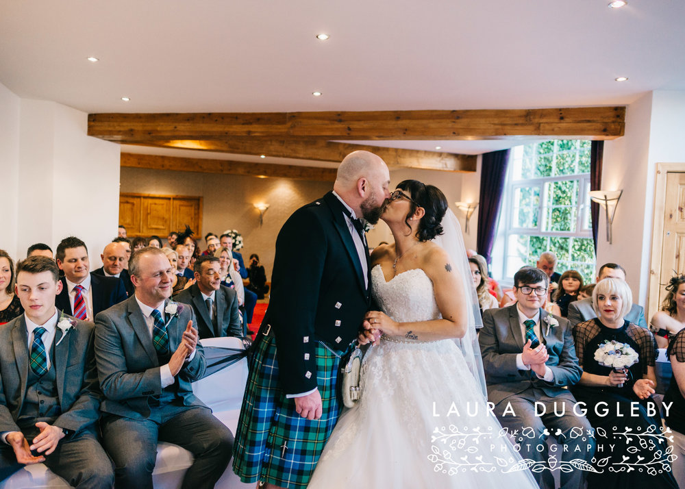 bride and groom getting married at the old mill hotel ramsbottom
