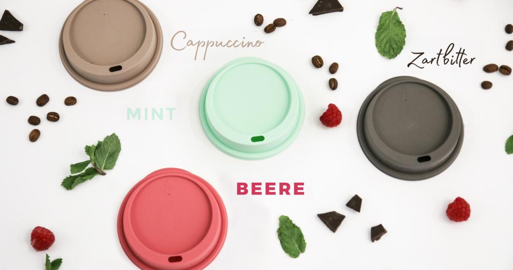 Mix and Match! Unsere Deckel in den Farben Cappuccino, Beere, Mint und Zartbitter.