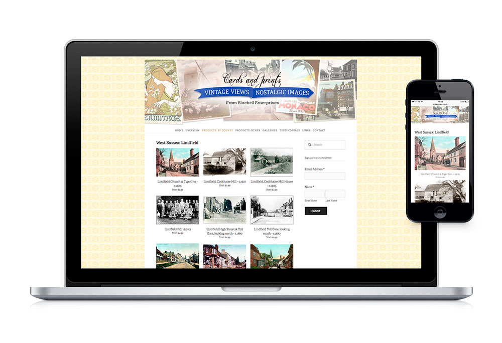 Desktop and mobile web product page design for Vintage Pics, cards and prints online shop.