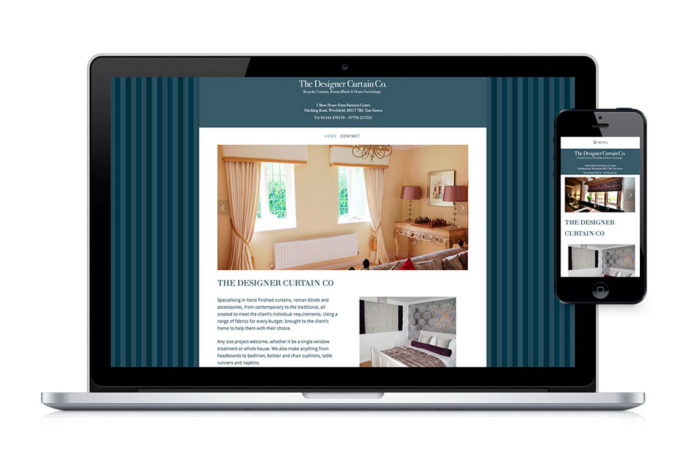 Desktop and mobile web homepage design for The Designer Curtain Company.