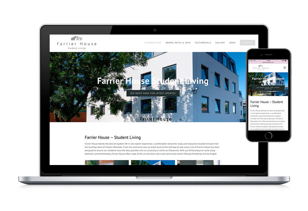 Desktop and mobile web homepage design for Farrier House Student Living