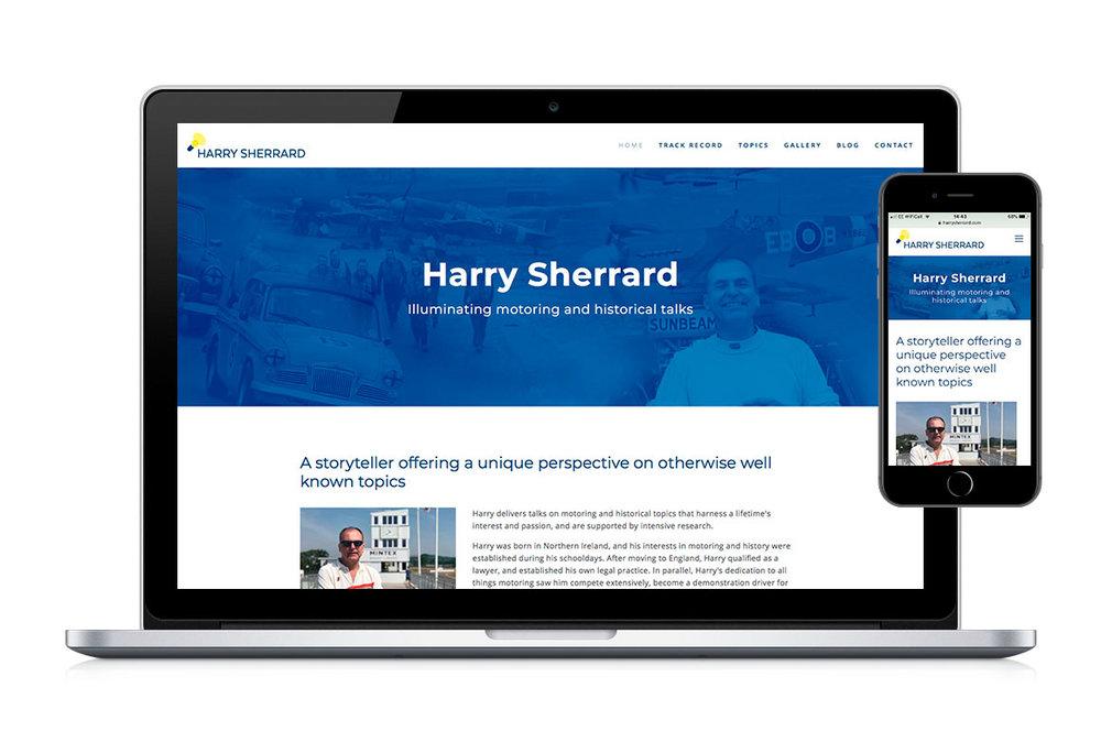 Desktop and mobile web homepage design for Harry Sherrard, public speaker.
